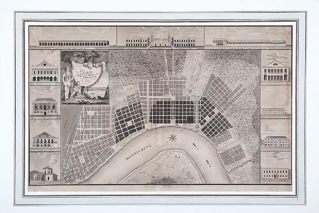 Jacques Tanesse Map of New Orleans, 1817