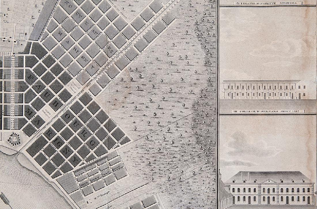 Jacques Tanesse Map of New Orleans, 1817 - 6