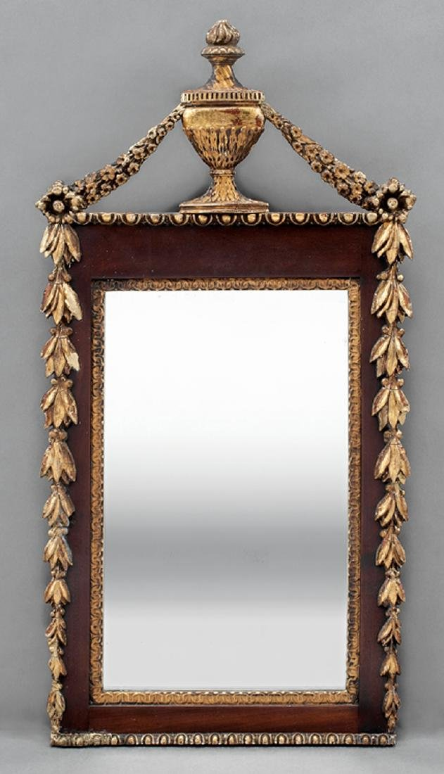 Georgian-Style Carved and Gilded Mahogany Mirror