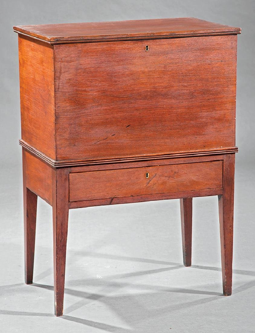 American Late Federal Walnut Sugar Chest on Stand
