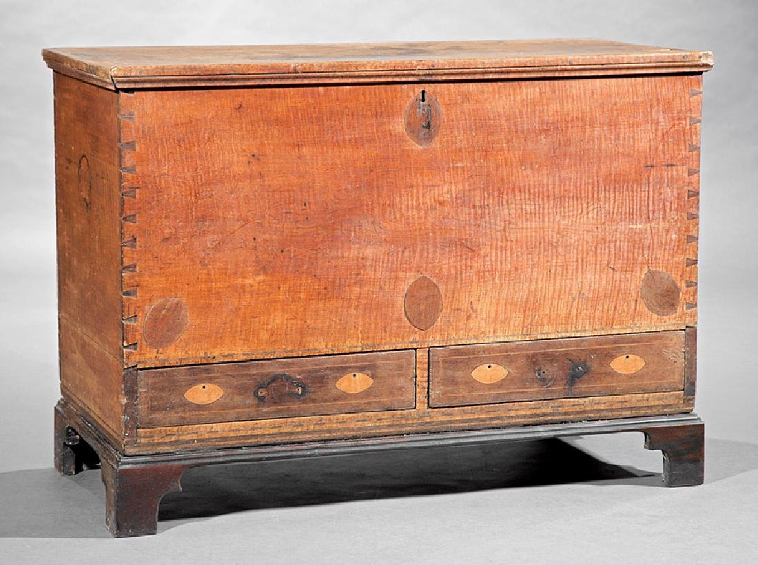American Federal Inlaid Tiger Maple Blanket Chest