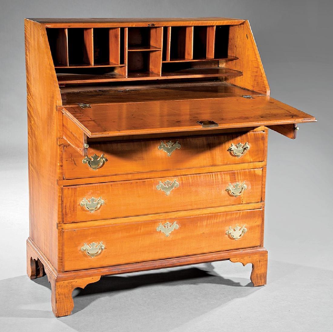 Federal Carved Tiger Maple Slant Front Desk - 3