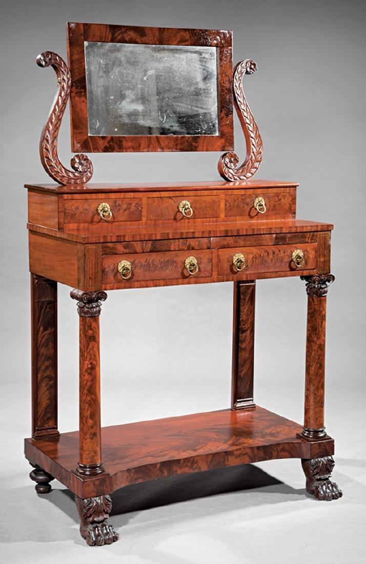 American Classical Carved Mahogany Dressing Table