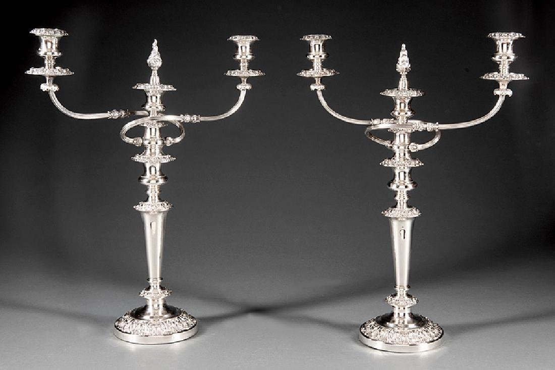 Regency-Style Silverplate Three-Light Candelabra