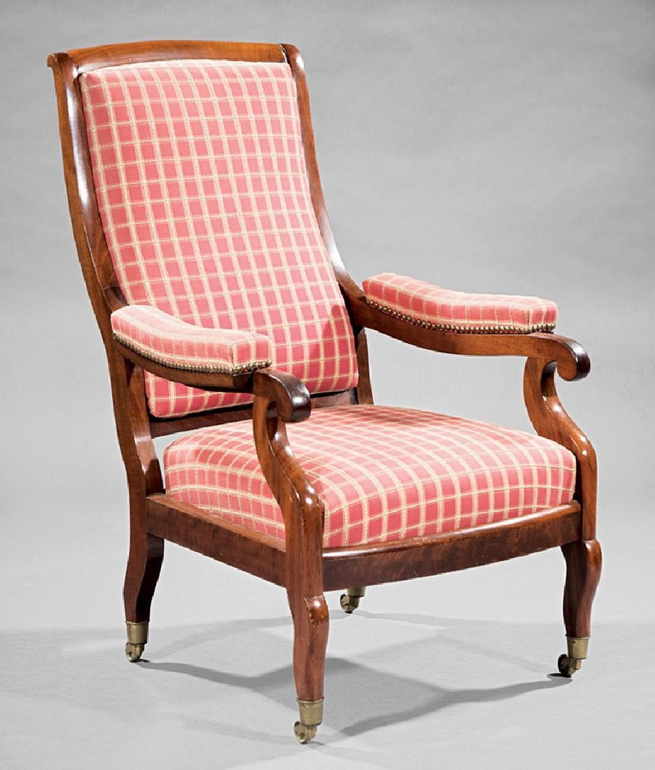 Classical Carved Mahogany Voltaire Armchair