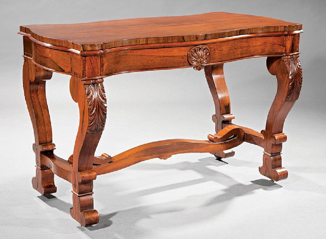 American Classical Carved Rosewood Sofa Table