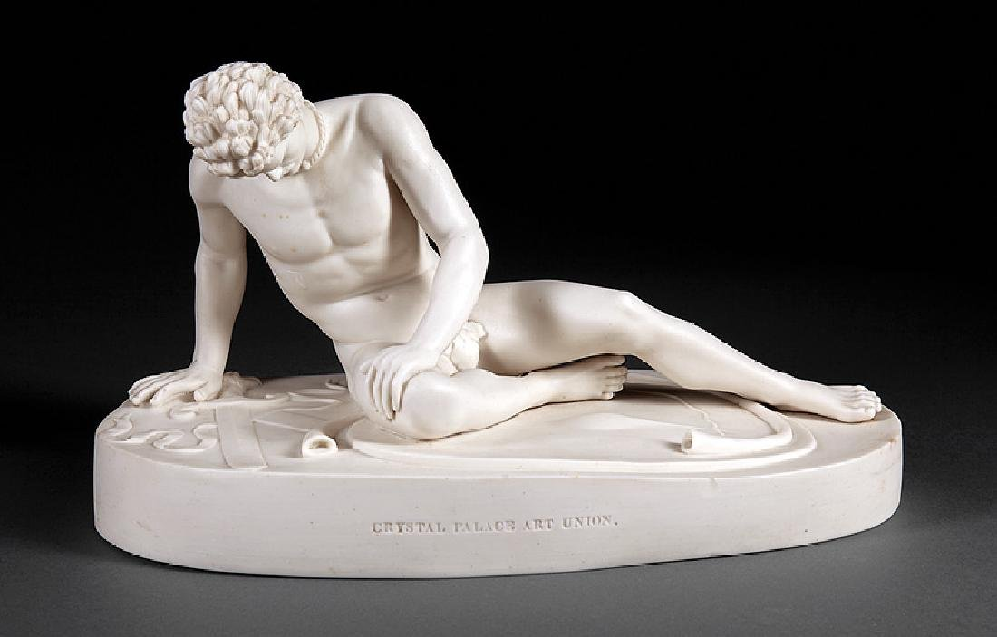 """English Parian Figure of """"The Dying Gladiator"""""""