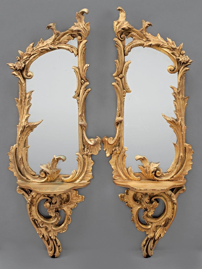 Rococo-Style Gilt and Mirrored Brackets