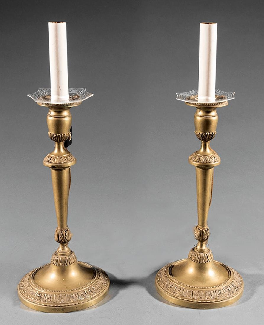 English Neoclassical-Style Candlestick Lamps