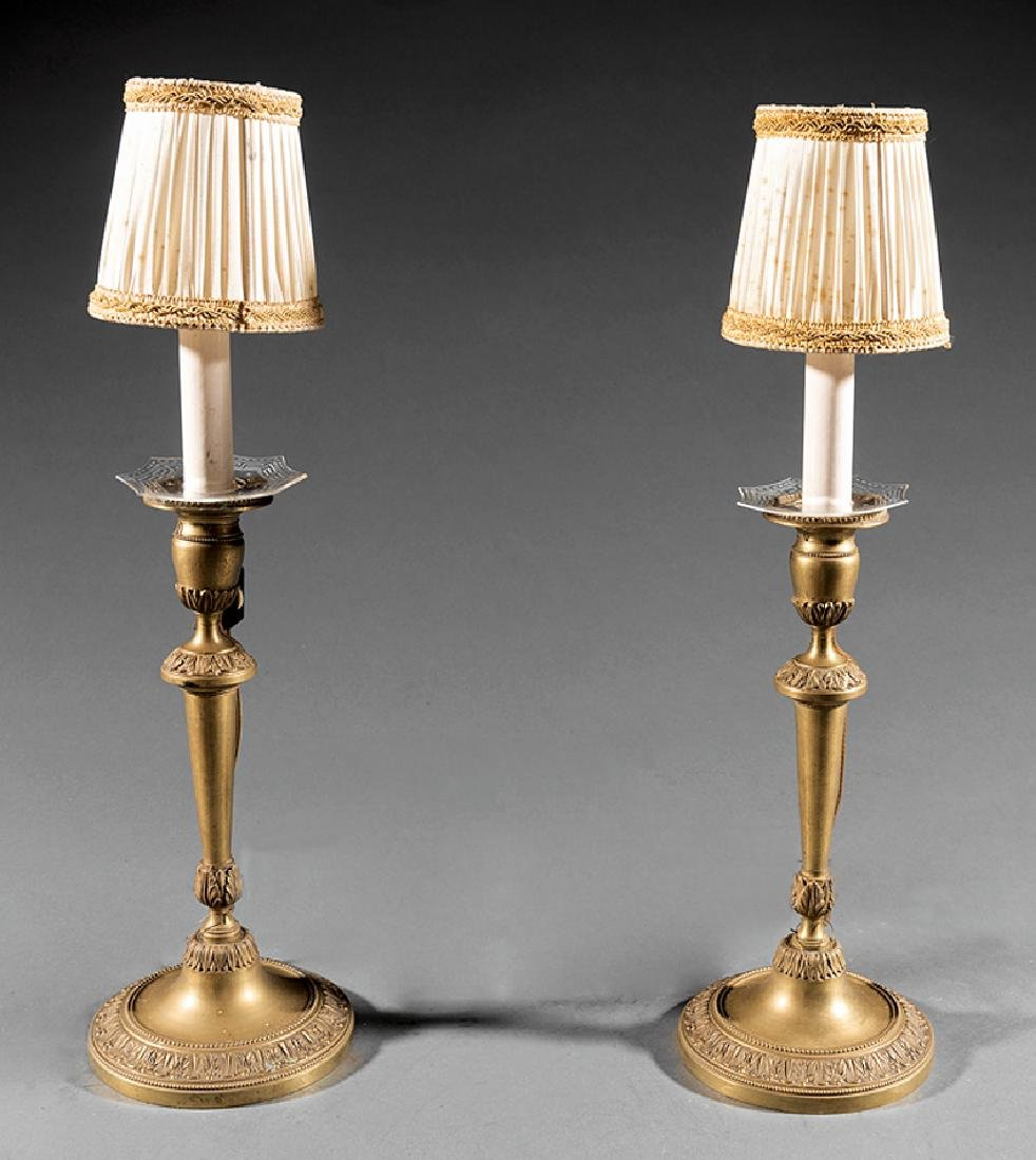 English Neoclassical-Style Candlestick Lamps - 2