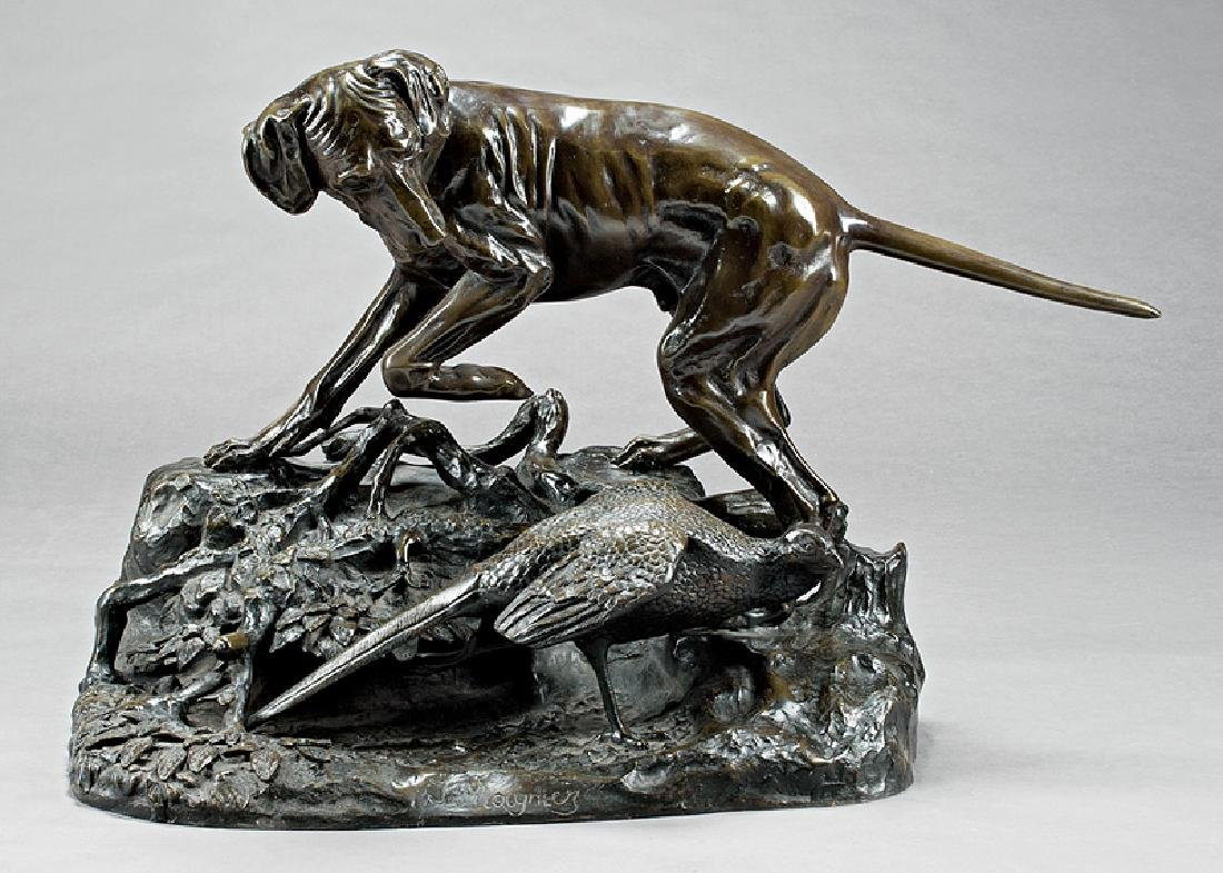 Patinated Bronze Figural Group of a Dog and Bird
