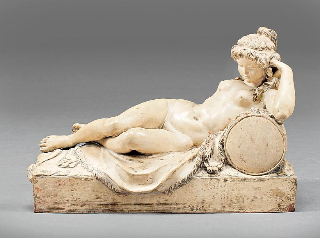 Painted Terracotta Figure of a Reclining Nymph