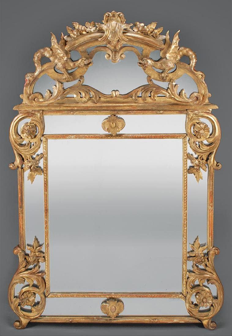 Regence-Style Carved Giltwood Mirror