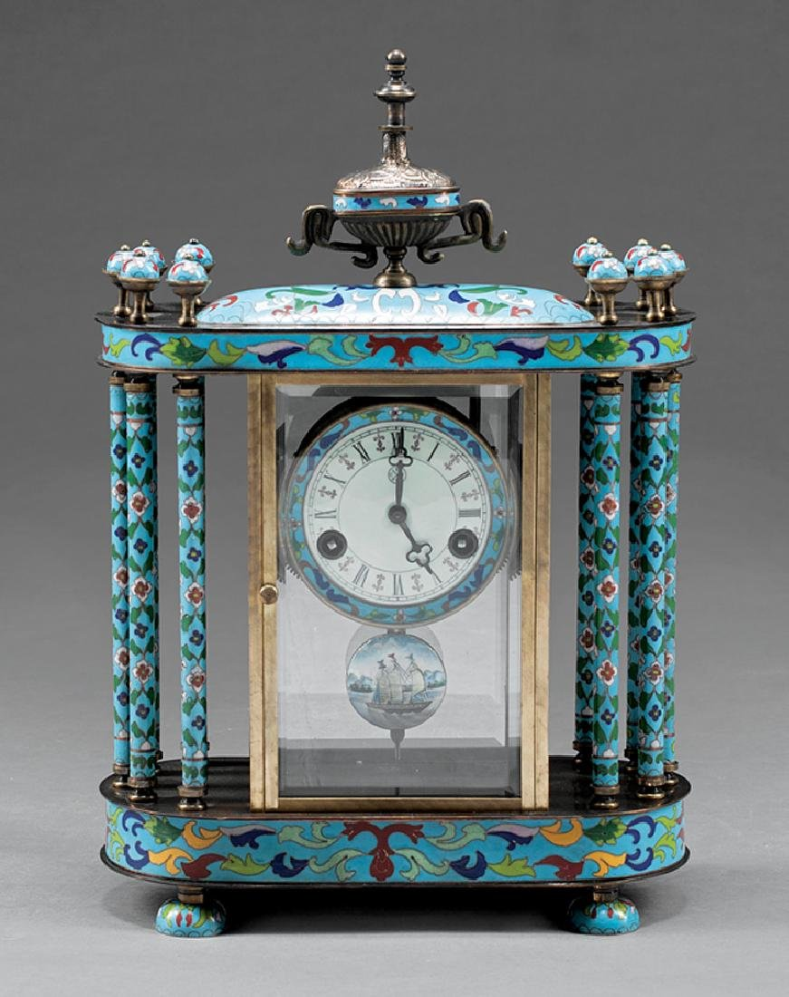 French Cloisonne and Brass Mantel Clock