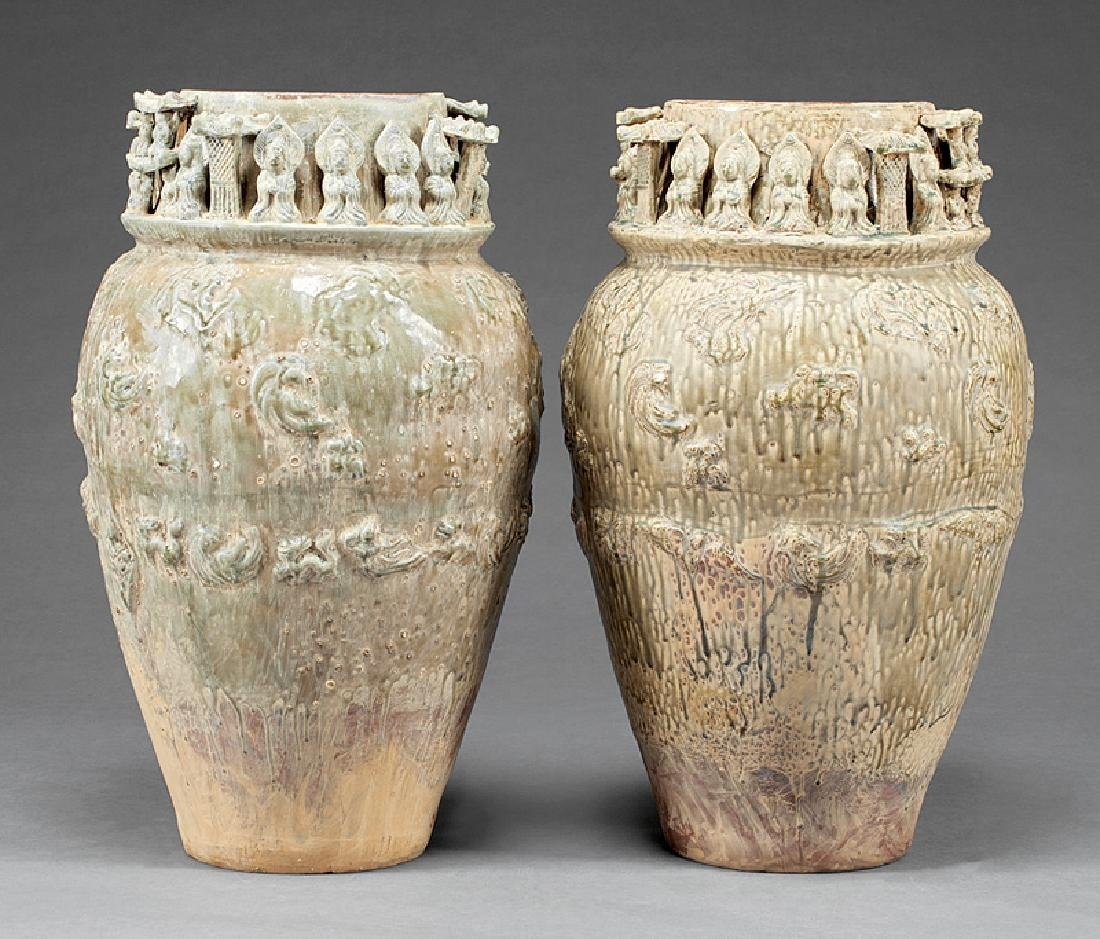 Chinese Song-Style Glazed Pottery Urns