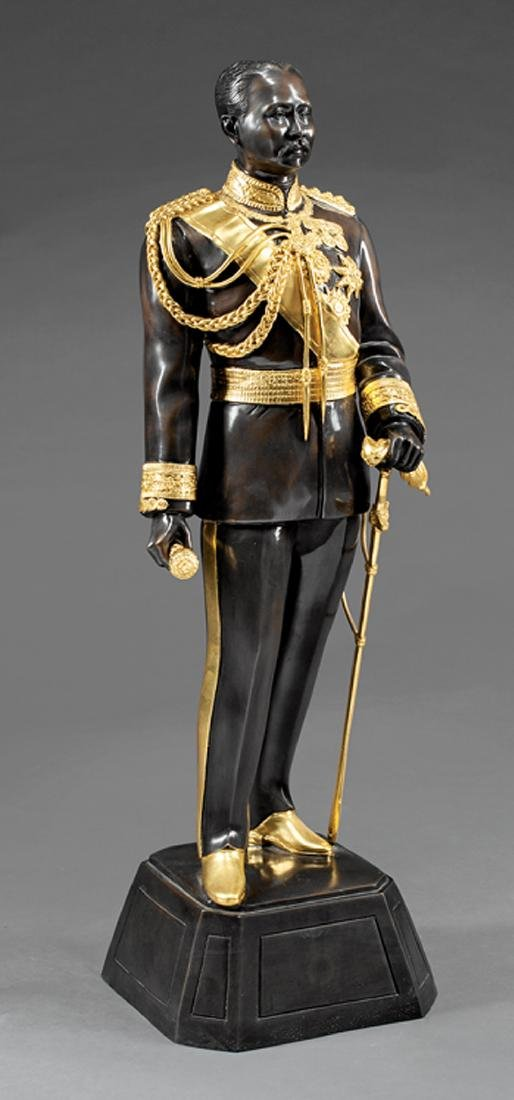Patinated Gilt Metal Figure of a King of Thailand