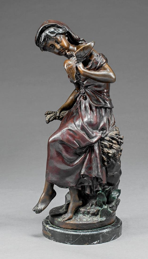 French Patinated Bronze Figural of a Maiden