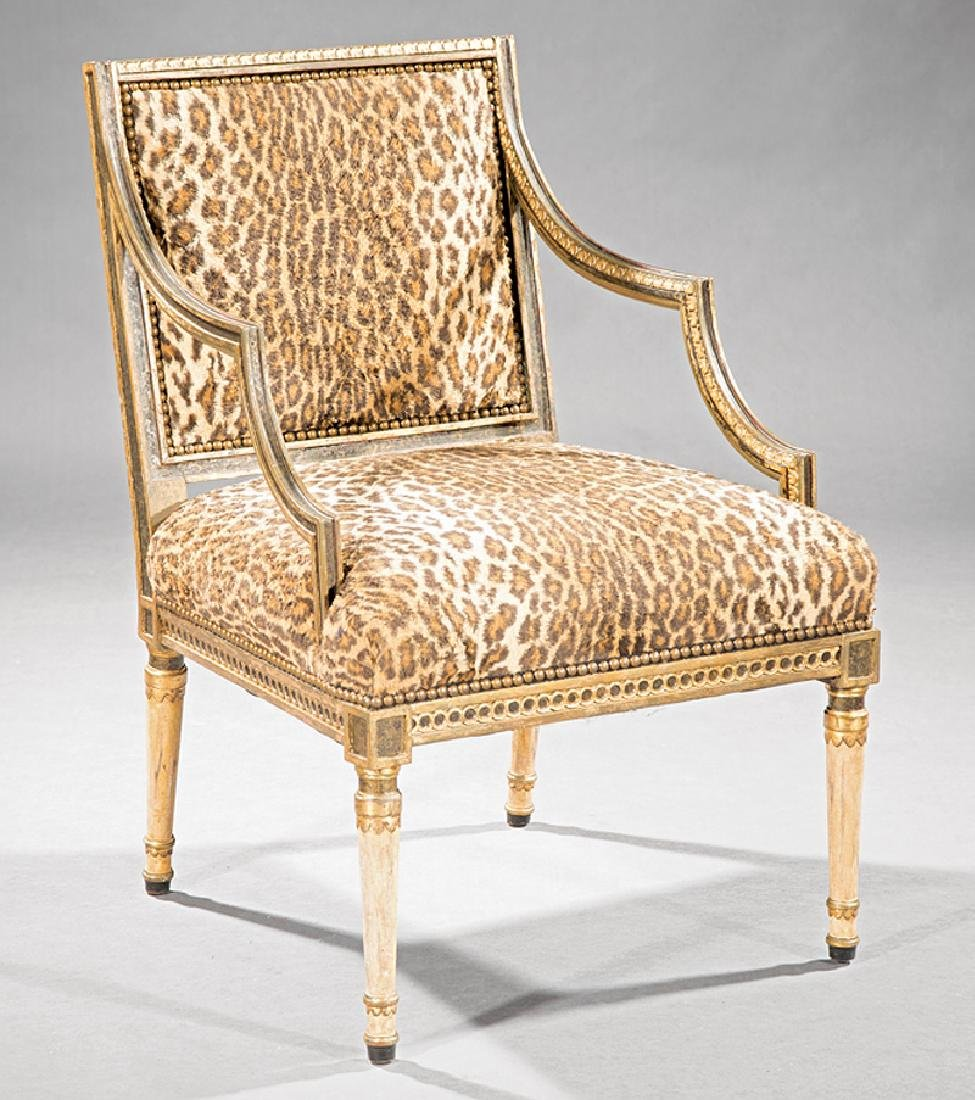 Regency-Style Painted and Parcel Gilt Armchair
