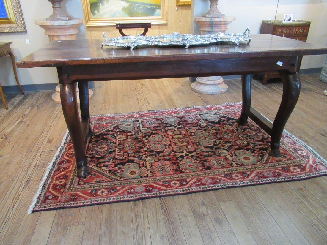 English Carved Walnut Refectory Table - 3