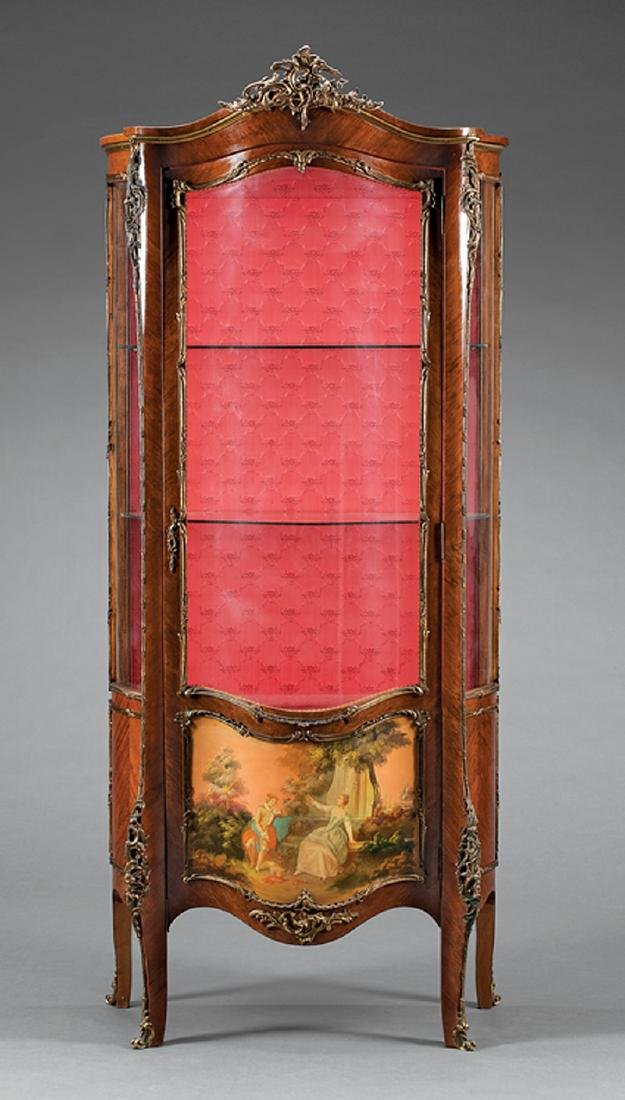 Bronze-Mounted Mahogany, Painted Vitrine