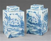 Chinese Export Blue  White Porcelain Tea Caddies