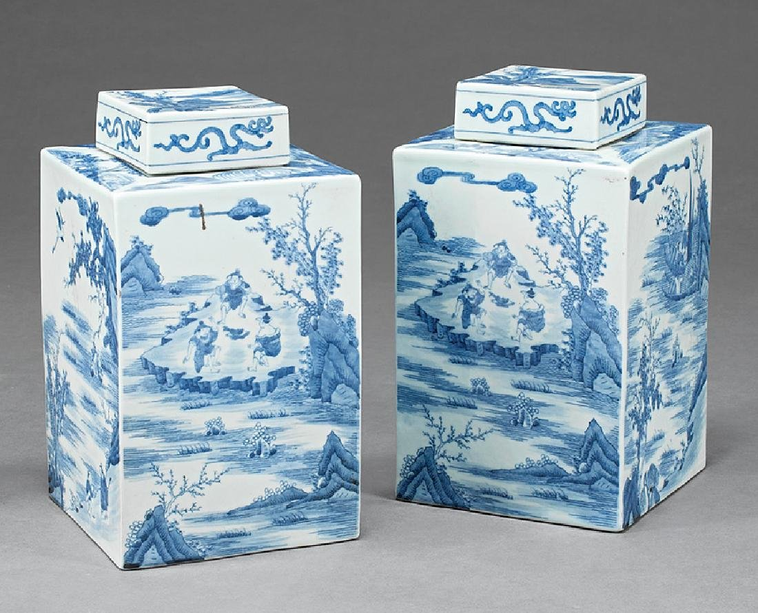 Chinese Export Blue & White Porcelain Tea Caddies