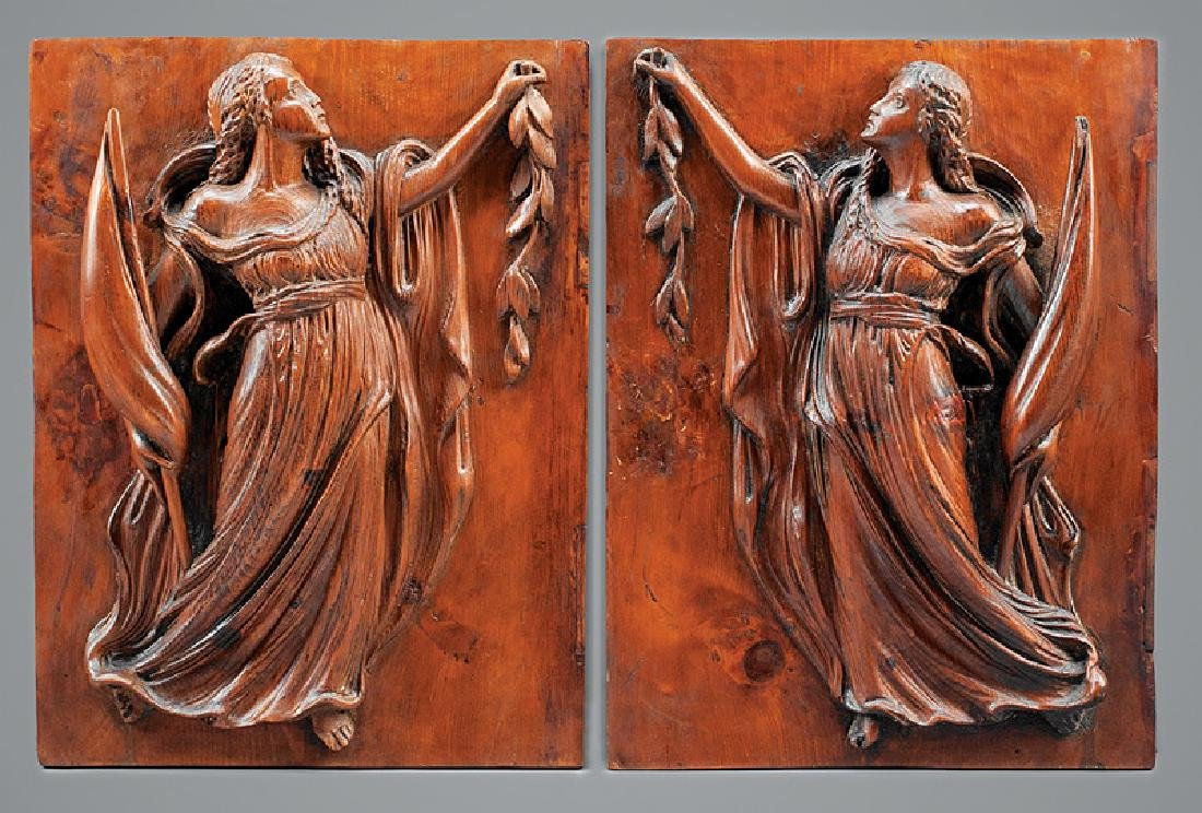 Pair of Antique Carved Pine Plaques