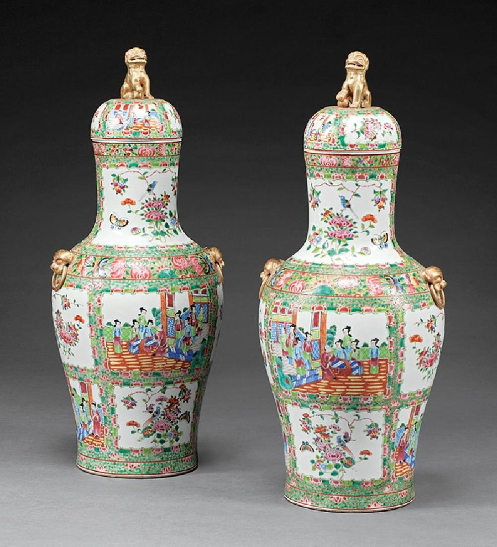 Chinese Famille Rose Porcelain Covered Vases