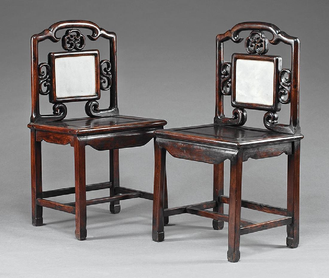 Chinese Marble Inset Hardwood Side Chairs