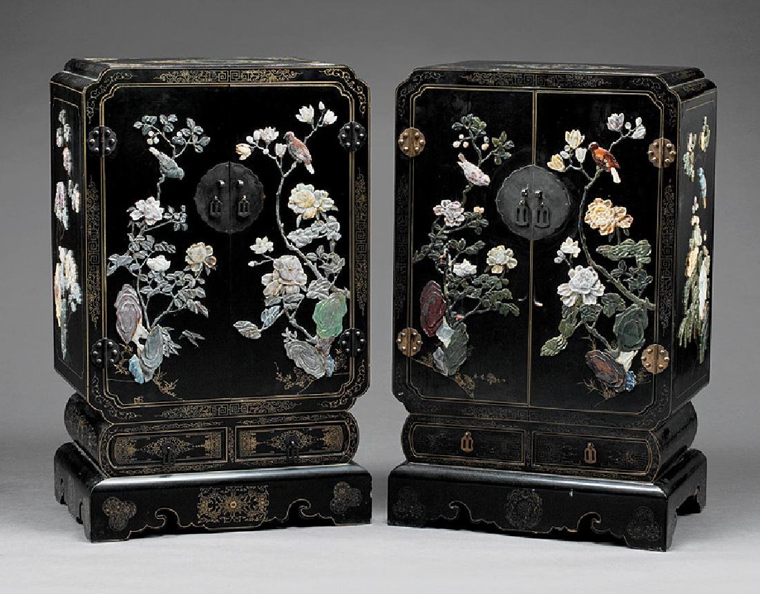 Chinese Hardstone Embellished, Lacquer Cabinets