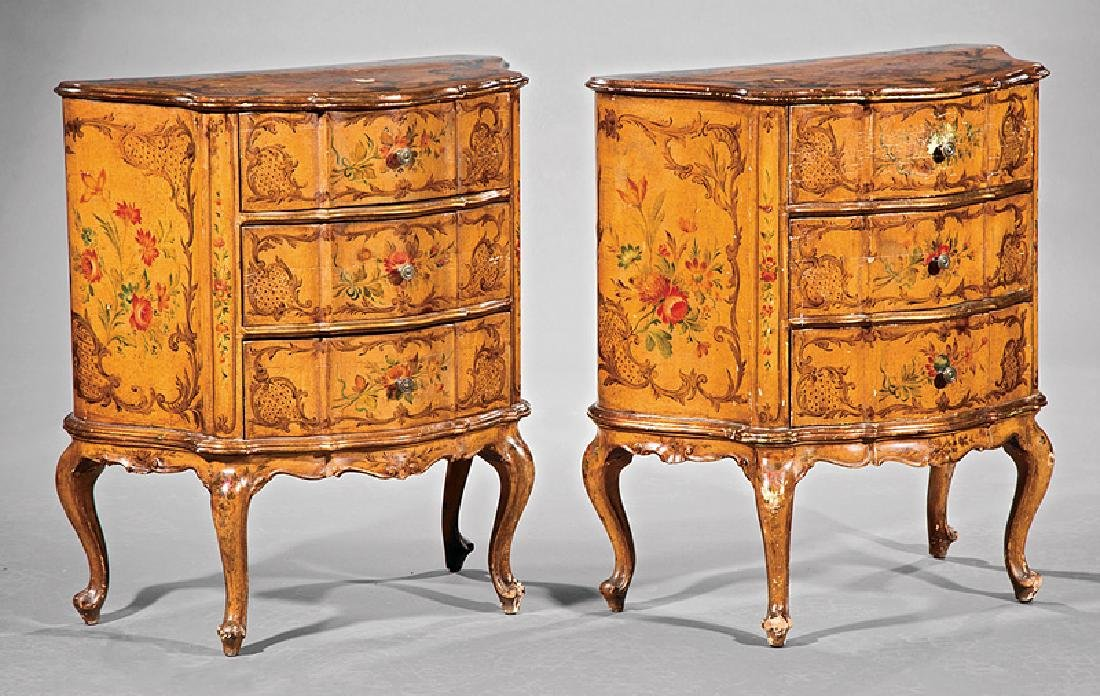 Pair of Venetian Polychrome Painted Commodes