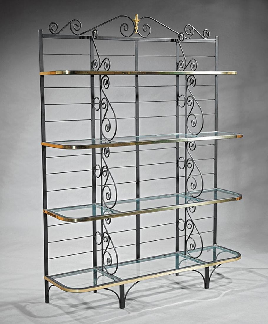 Continental Brass and Wrought Iron Baker's Rack