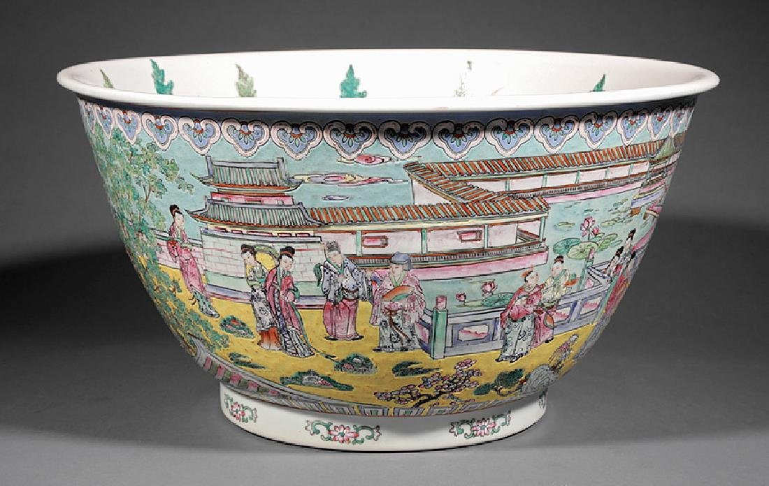 Chinese Famille Jaune Porcelain Fish Bowl