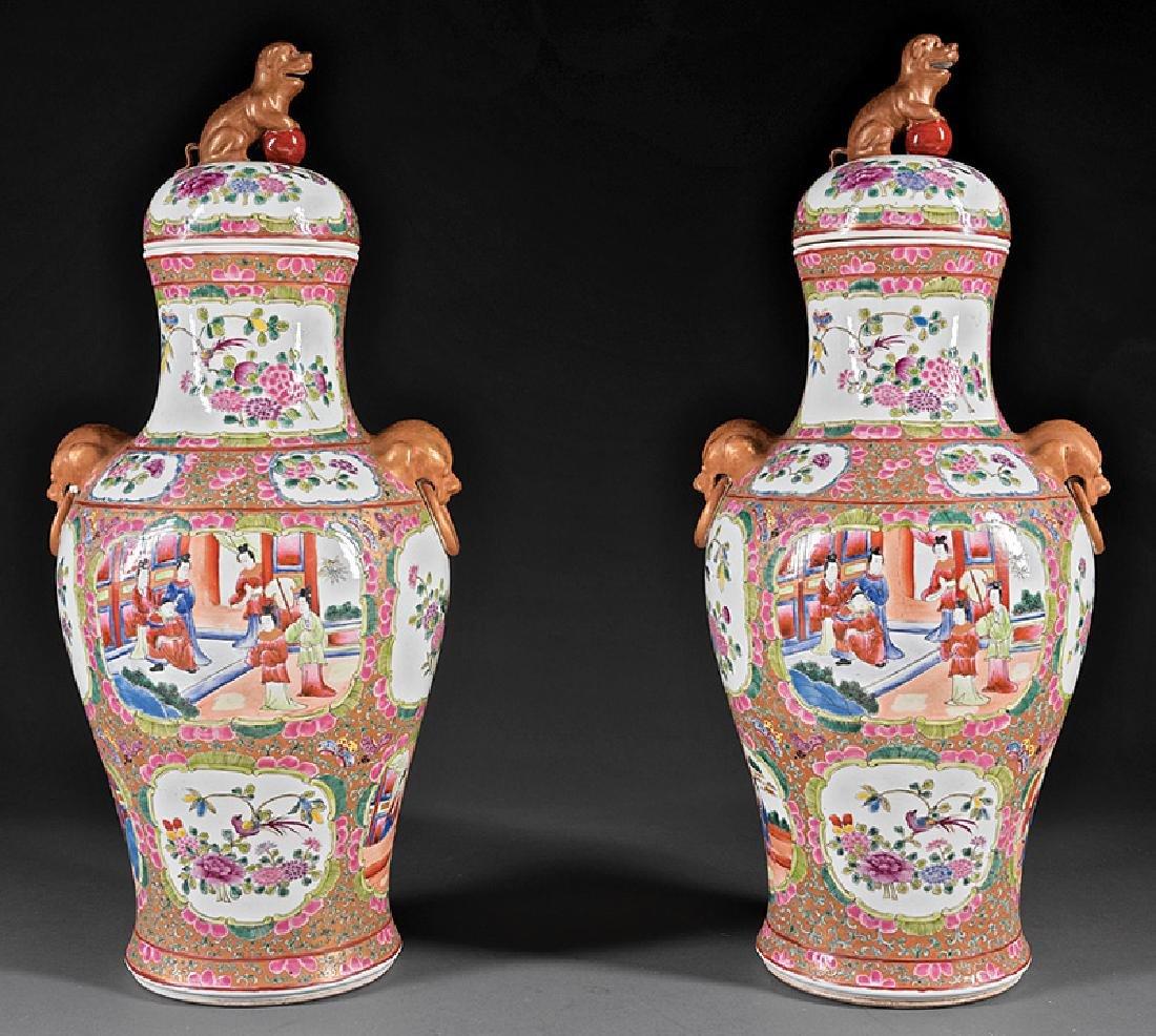 Chinese Famille Rose Porcelain Covered Vases