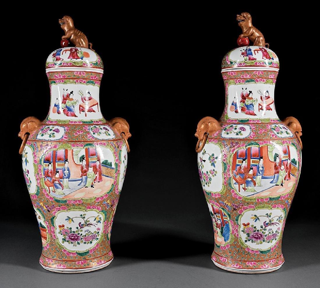 Chinese Famille Rose Porcelain Covered Vases - 2