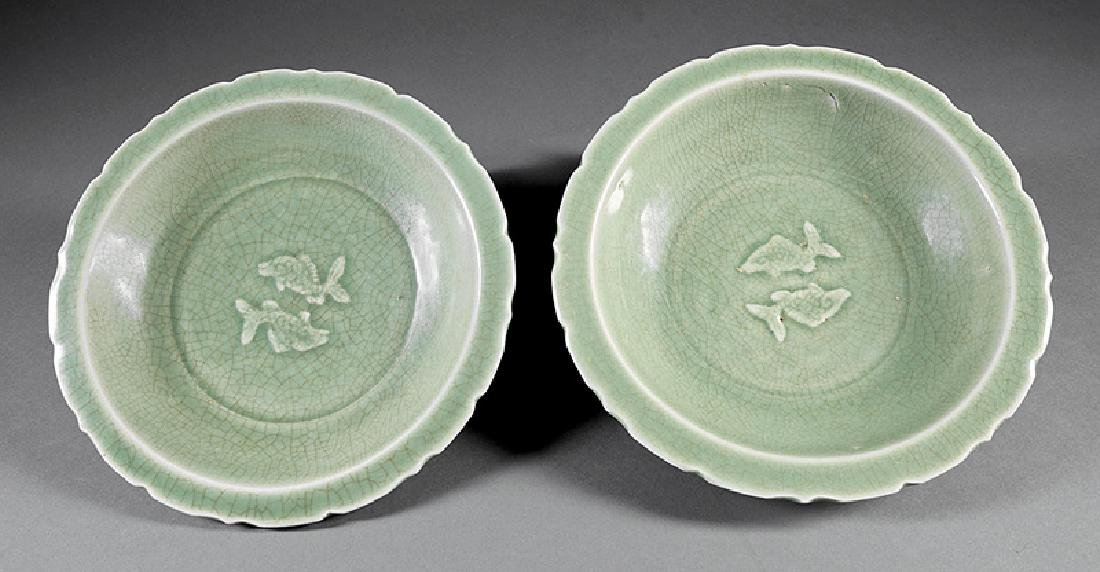 "Two Chinese Celadon Stoneware ""Twin Fish"" Bowls"