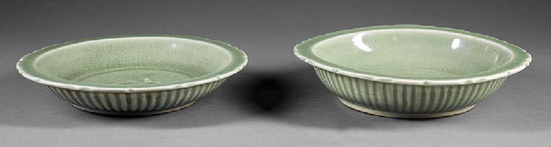 "Two Chinese Celadon Stoneware ""Twin Fish"" Bowls - 3"
