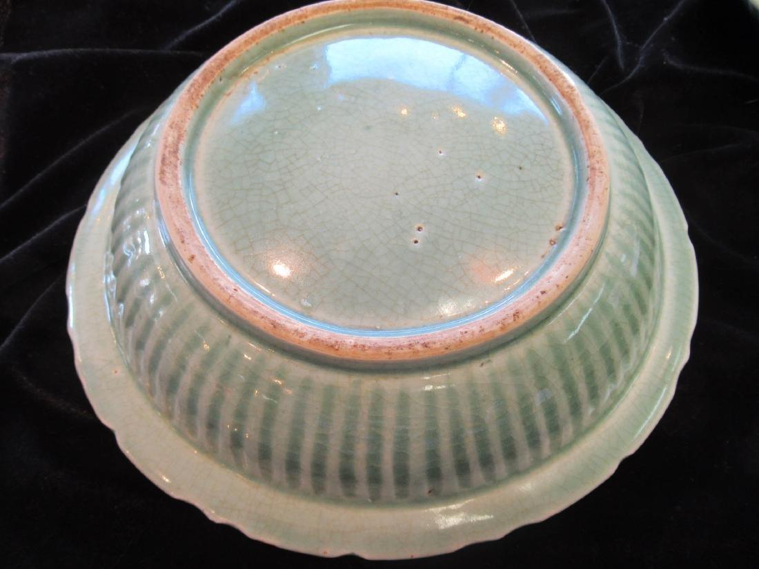 "Two Chinese Celadon Stoneware ""Twin Fish"" Bowls - 5"