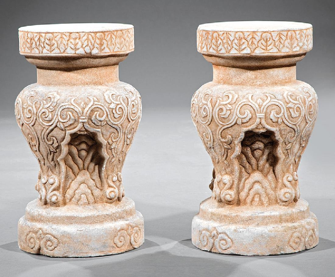Pair of Chinese Marble Stands