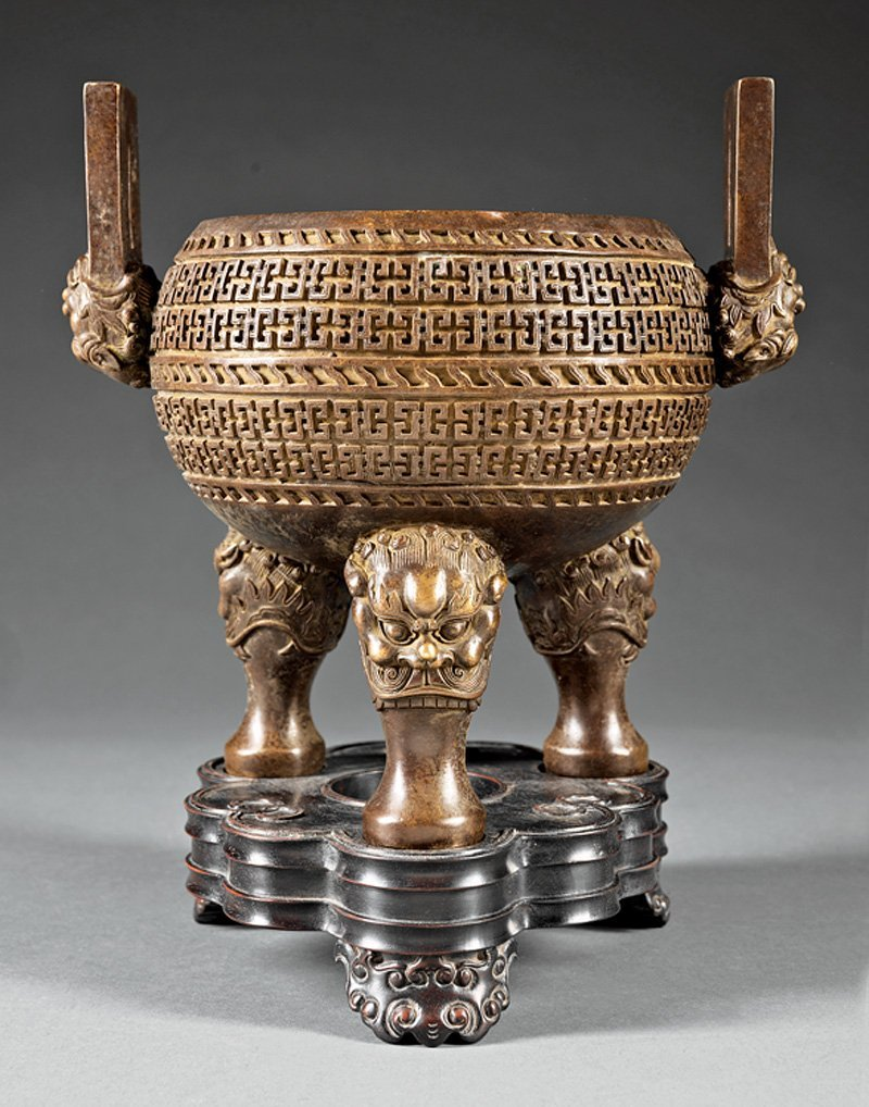 Chinese Patinated Bronze Tripod Censer