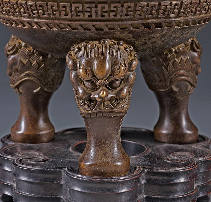 Chinese Patinated Bronze Tripod Censer - 3