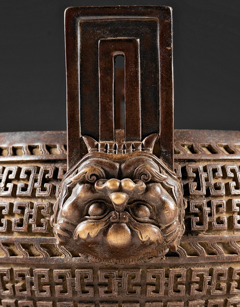 Chinese Patinated Bronze Tripod Censer - 4