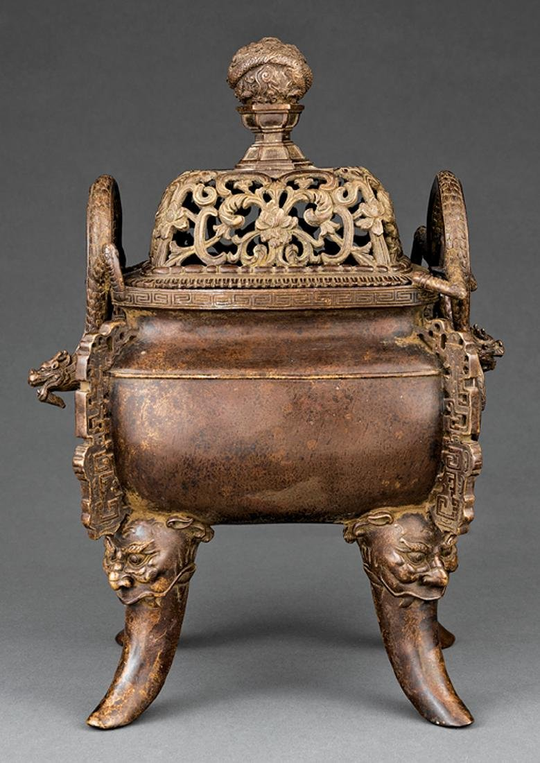 Chinese Patinated Bronze Covered Censer