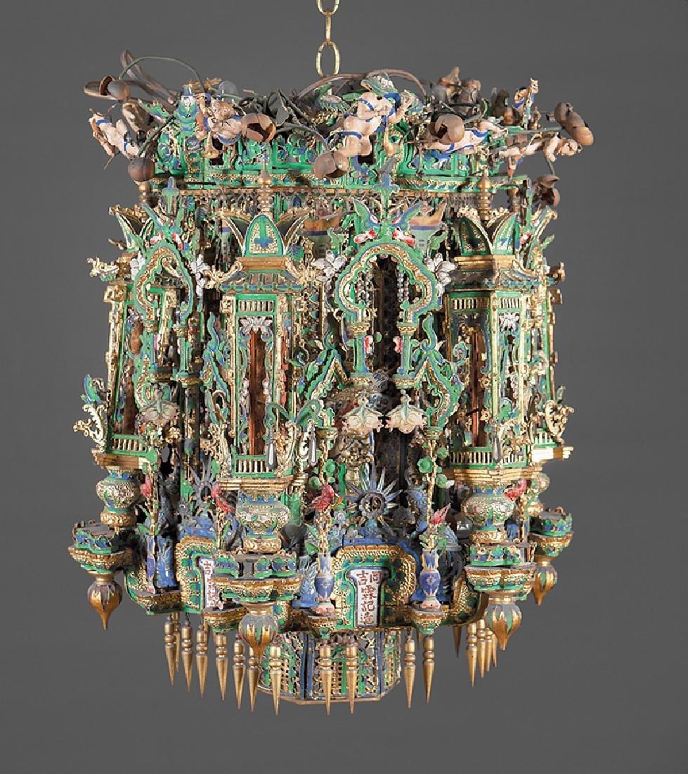 Chinese Enameled Metal Carved Wood Hanging Lantern
