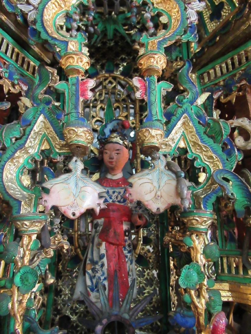 Chinese Enameled Metal Carved Wood Hanging Lantern - 8