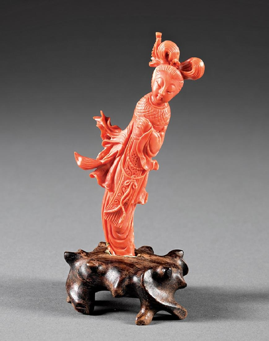 Chinese Carved Coral Figure of a Celestial Beauty