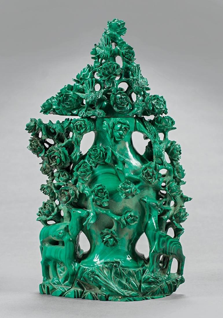 Chinese Malachite Covered Vase