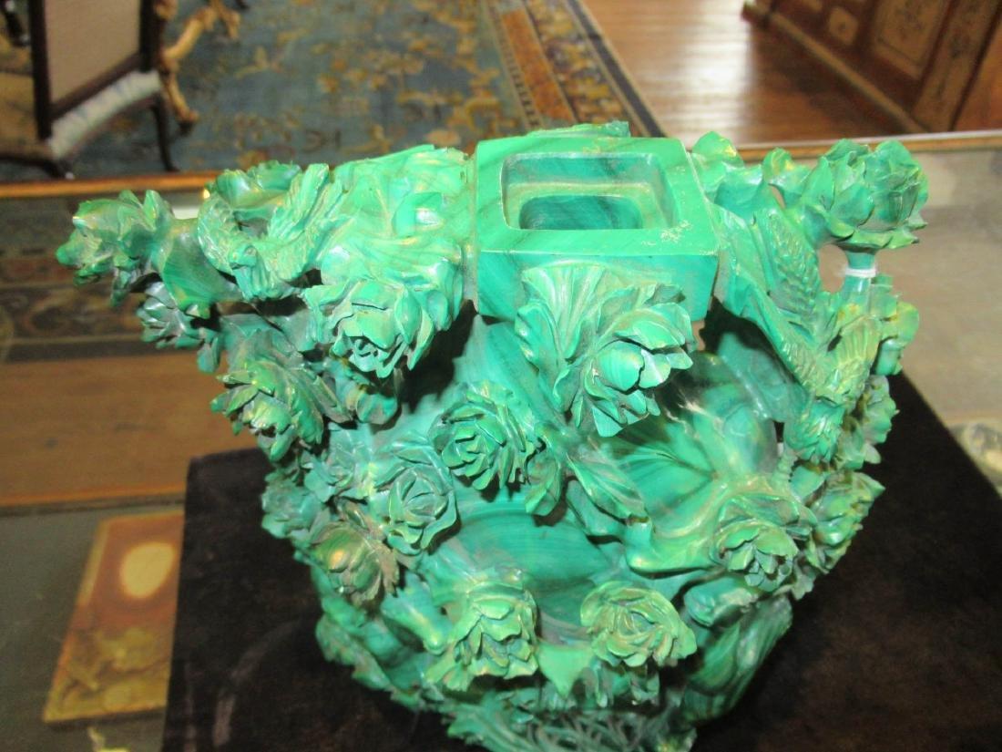 Chinese Malachite Covered Vase - 3