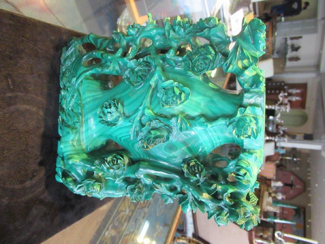 Chinese Malachite Covered Vase - 5