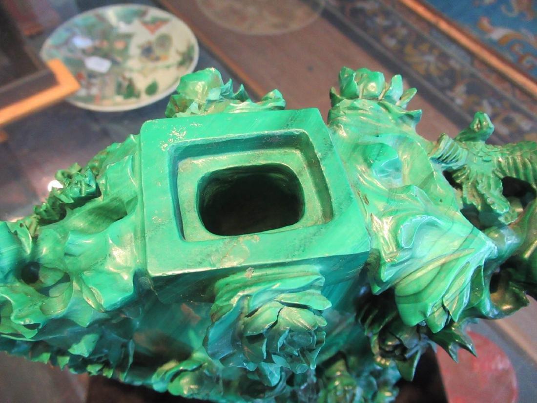 Chinese Malachite Covered Vase - 6